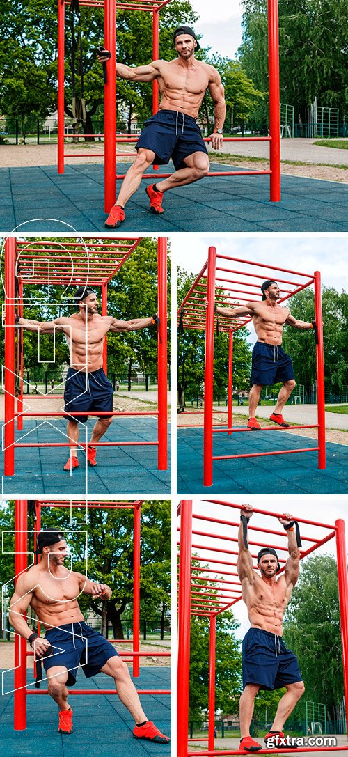 Stock Photos - Muscular man posing on the street after his workout