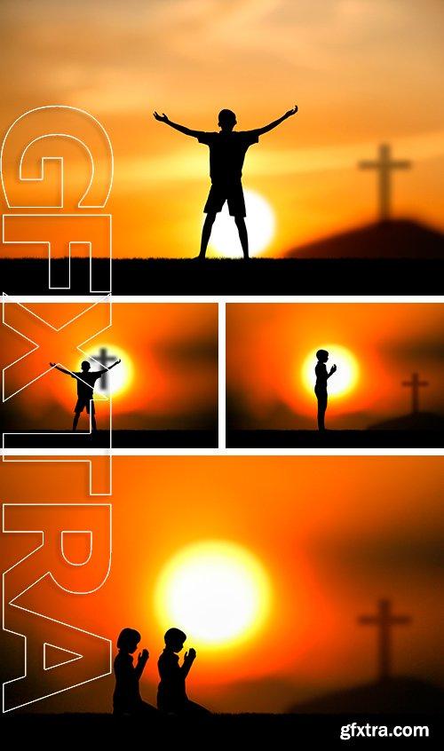 Stock Photos - People praying at the sunset