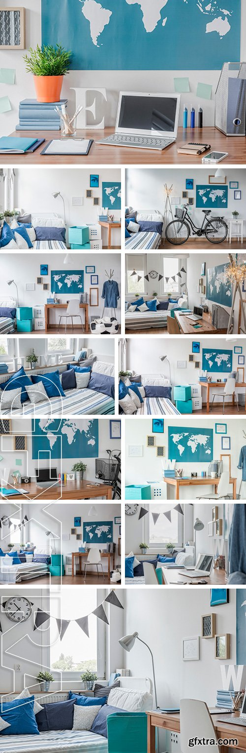 Stock Photos - Stylish modern white room with blue details