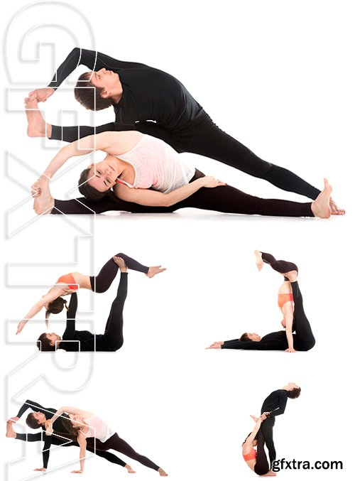Stock Photos - Sporty young couple on white background , yoga, fitness or pilates practice with partner, studio shot, full length