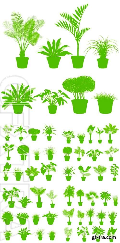 Stock Vectors - House indoor plants in pots set vector background green concept