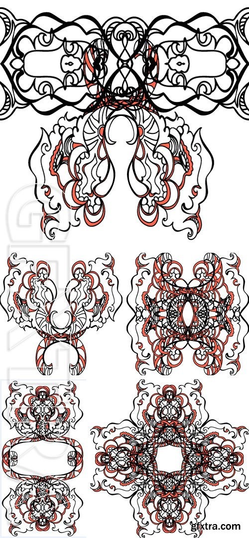 Stock Vectors - Vintage design element of hand-drawn. Perfect for jewelry packaging, invitations, printing on bags, clothing