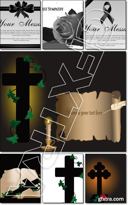 Condolence with rose and cross on vellum - Vector