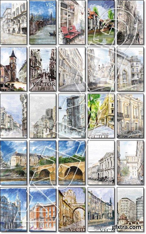 Illustration of European street. Watercolor style - Vector