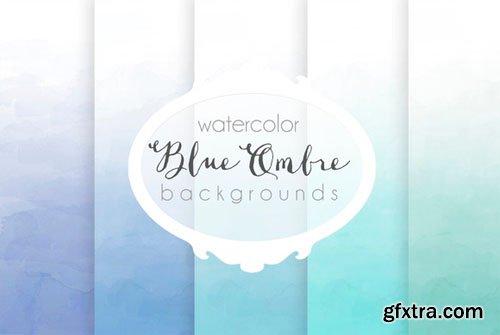 Blue ombre watercolor backgrounds - CM 91525