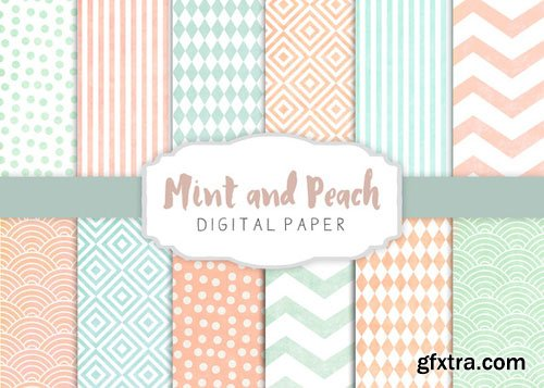 Peach and mint patterns - CM 275267