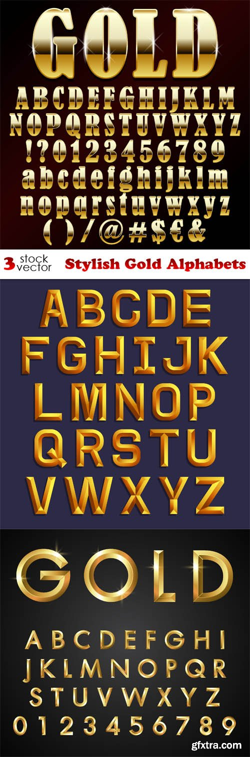 Vectors - Stylish Gold Alphabets