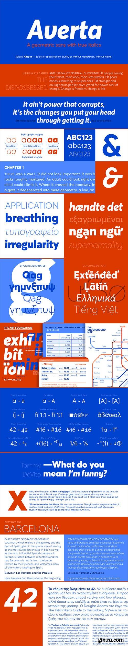 Averta - The Dynamism of the True Italics 16xOTF $119