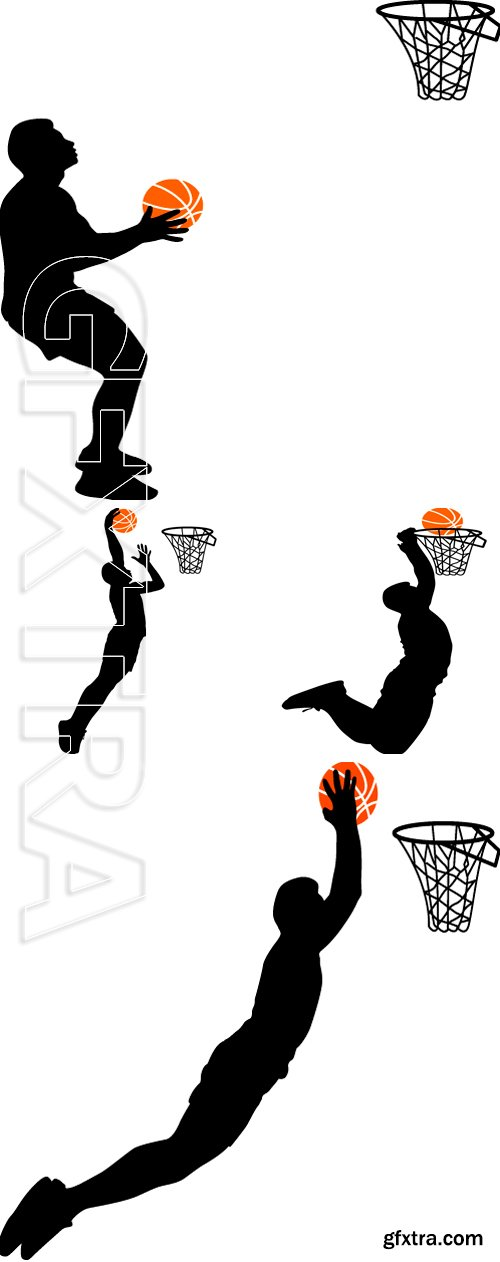 Stock Vectors - Black silhouettes of men playing basketball on a white background. Vector illustration