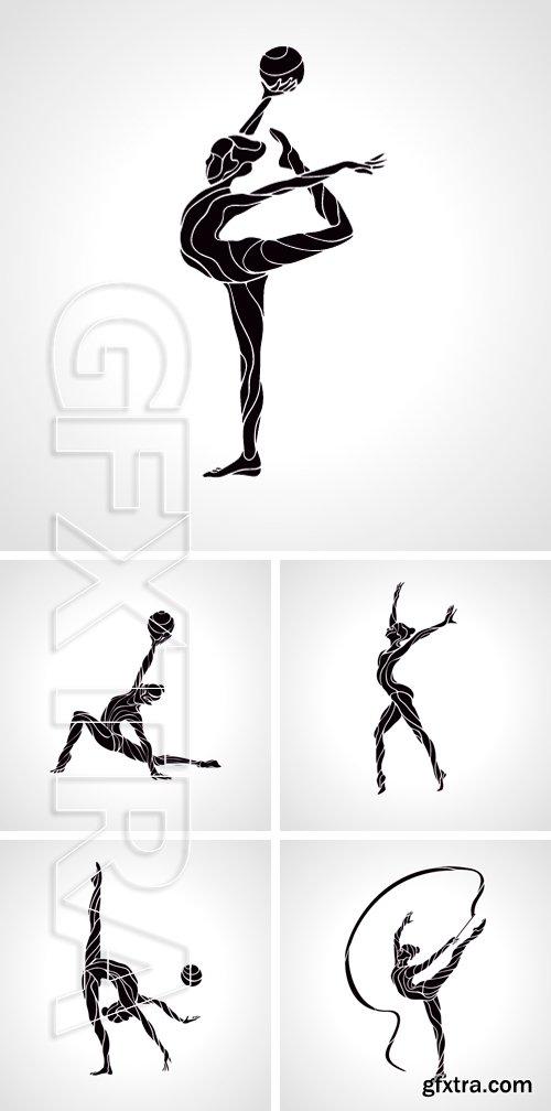 Stock Vectors - Creative silhouette of gymnastic girl. Art gymnastics,  vector illustration
