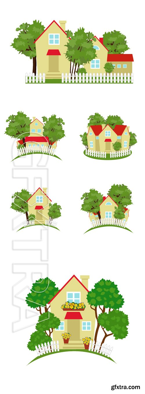 Stock Vectors - Lovely country house among the trees and bushes