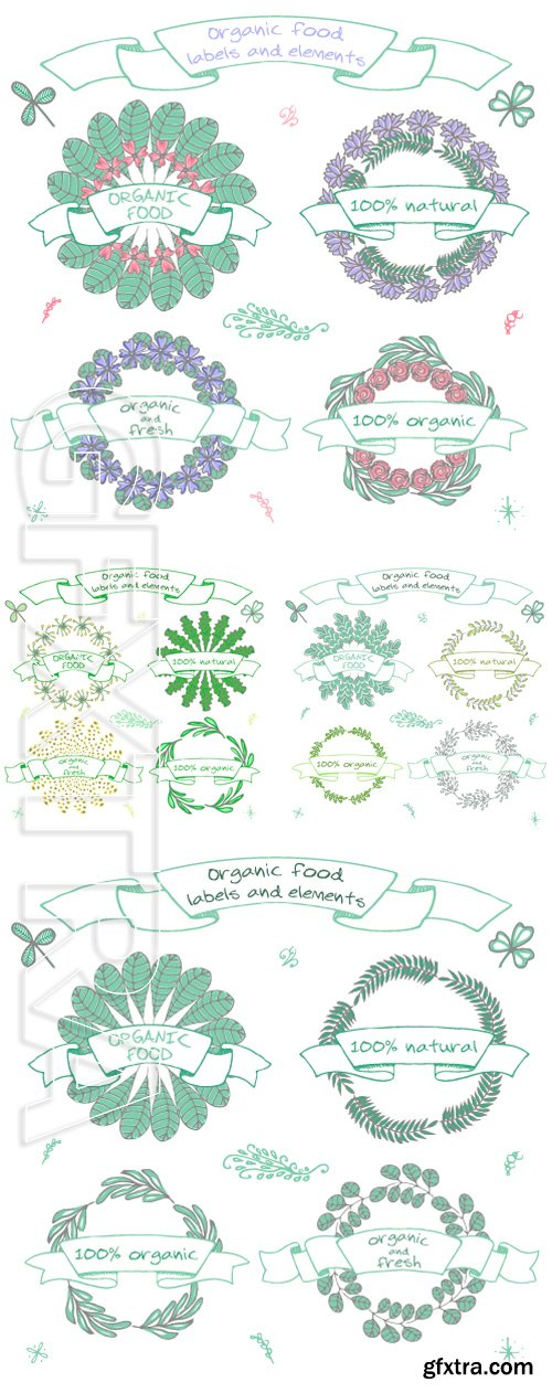 Stock Vectors - Set of hand drawn icons for restaurants and organic products shops and fresh farms, vegan food. Eco, Bio, Natural vector labels editable for your design