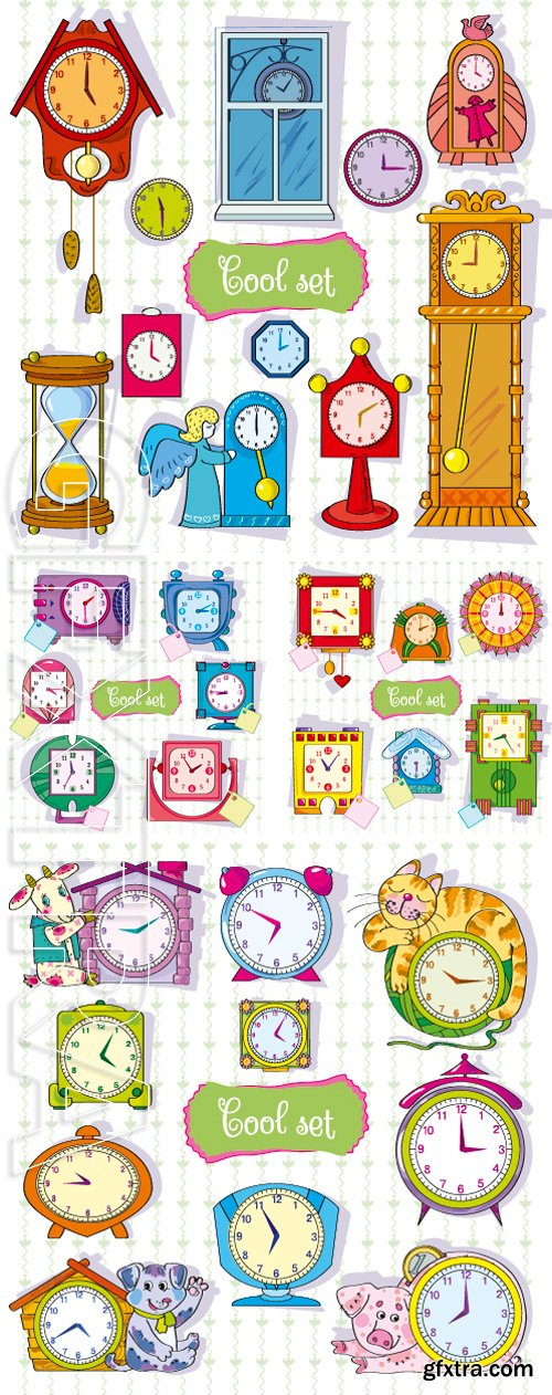 Stock Vectors - Bright set from clock. Illustration. Separate layers of objects and background for easy editing. Illustration done in cartoon style