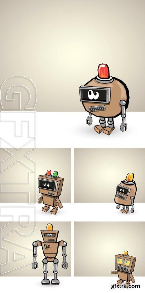 Stock Vectors - Brown Cartoon 3d Robot