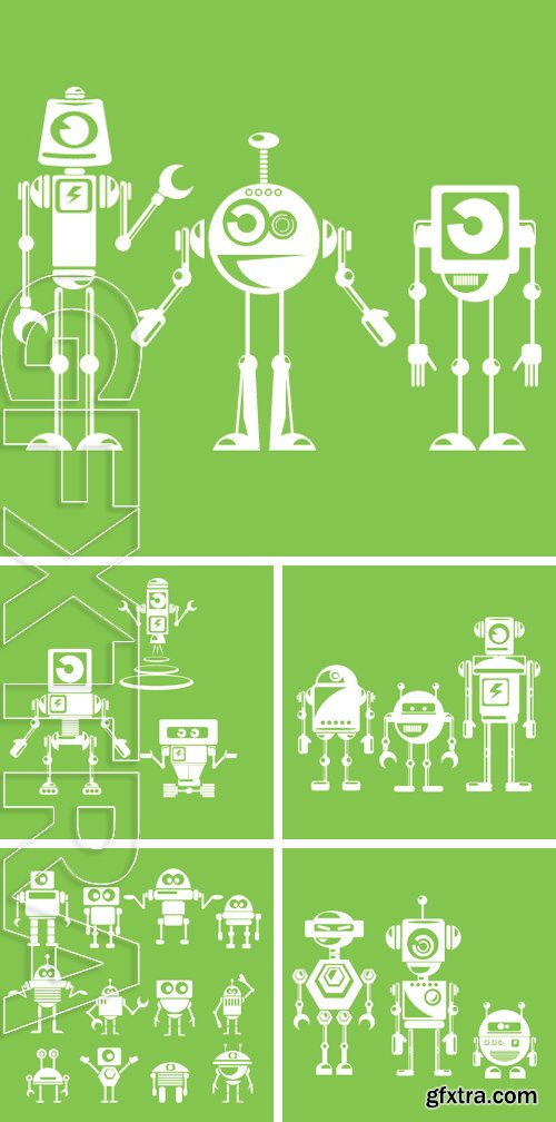 Stock Vectors - Flat design style robots and cyborgs. robot icon collection