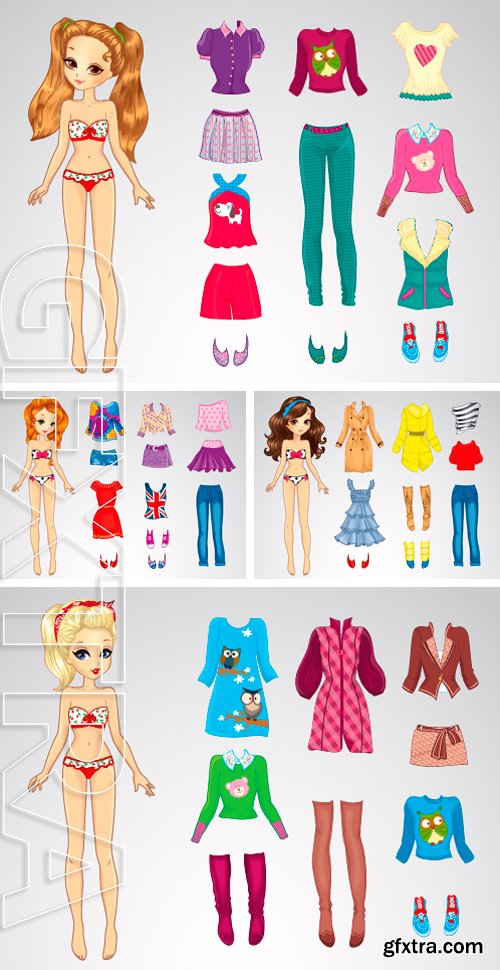 Stock Vectors - Paper doll of a young beautiful teenage girl