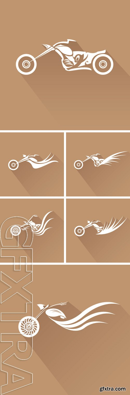 Stock Vectors - Vector Silhouette of classic motorcycle on pink background. motorcycle flat icon. freedom concept