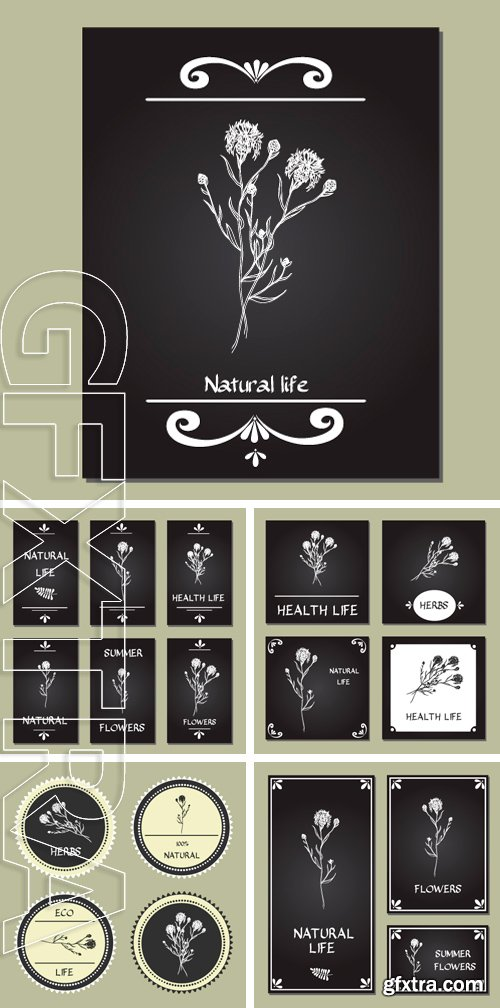 Stock Vectors - Hand-sketched templates with wildflowers, grasses, leaves. Eco, wood, nature, health, natural, seasons