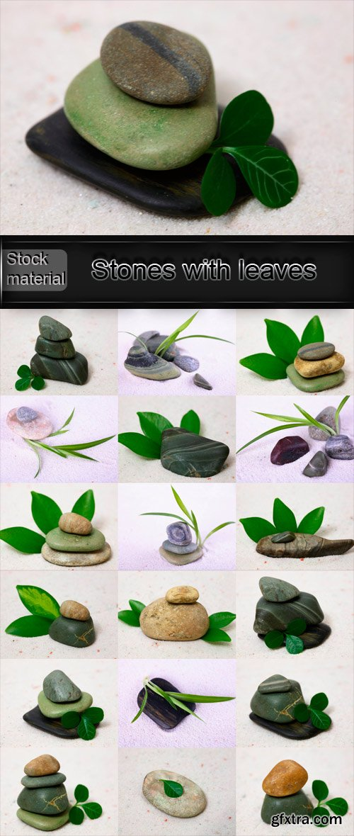 Some gathered stones with leaves