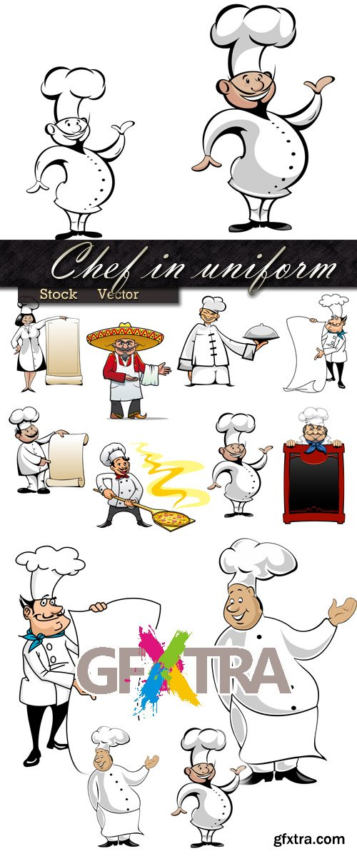 Chef in cap and the menu for a banquet