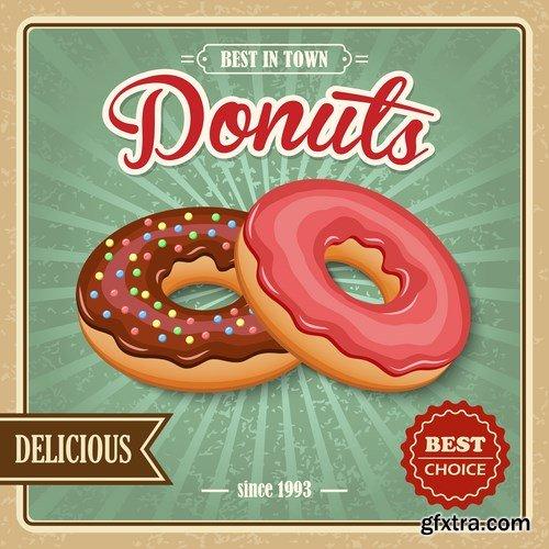 Donut retro poster - 7 EPS