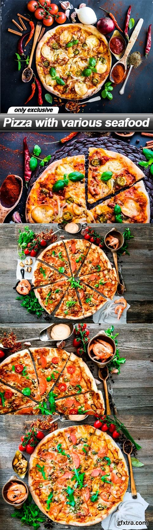 Pizza with various seafood - 5 UHQ JPEG