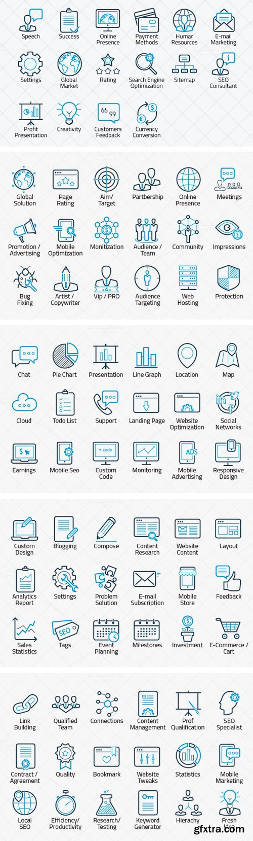 CM 120022 - ikooni outline: SEO, Web & Marketing