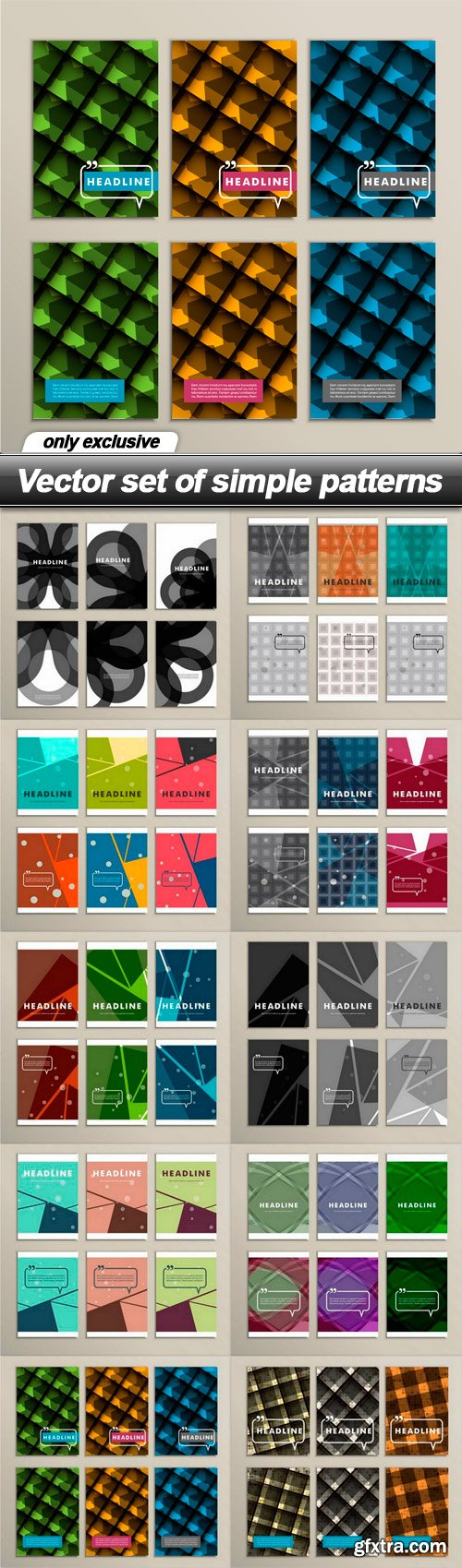 Vector set of simple patterns - 10 EPS