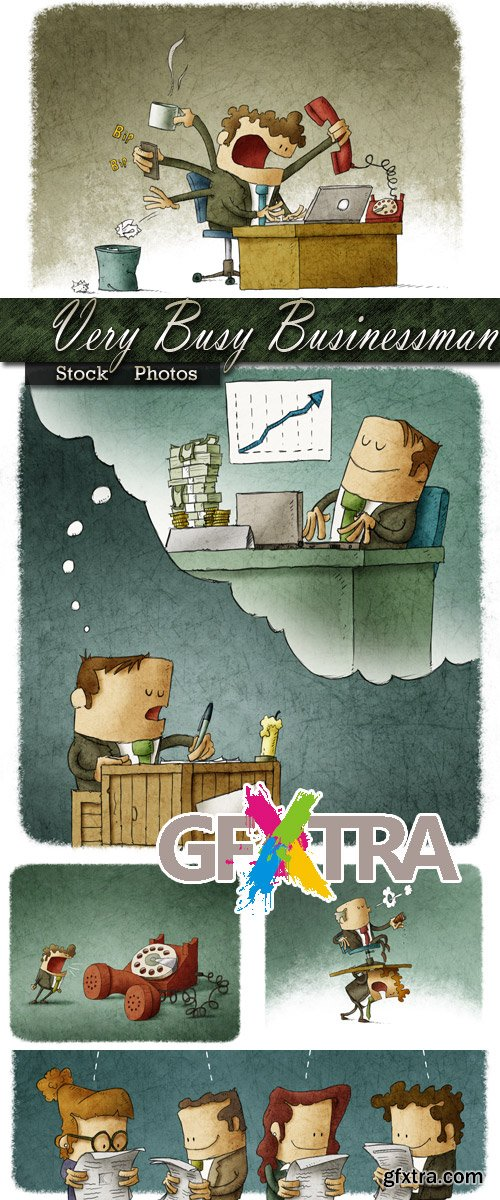 Illustrations - Very busy Businessman