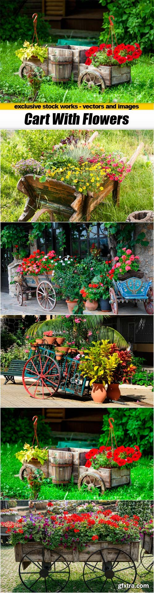 Cart With Flowers - 5x JPEGs