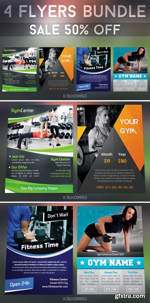 CM - Gym Fitness Flyers Bundle 319516