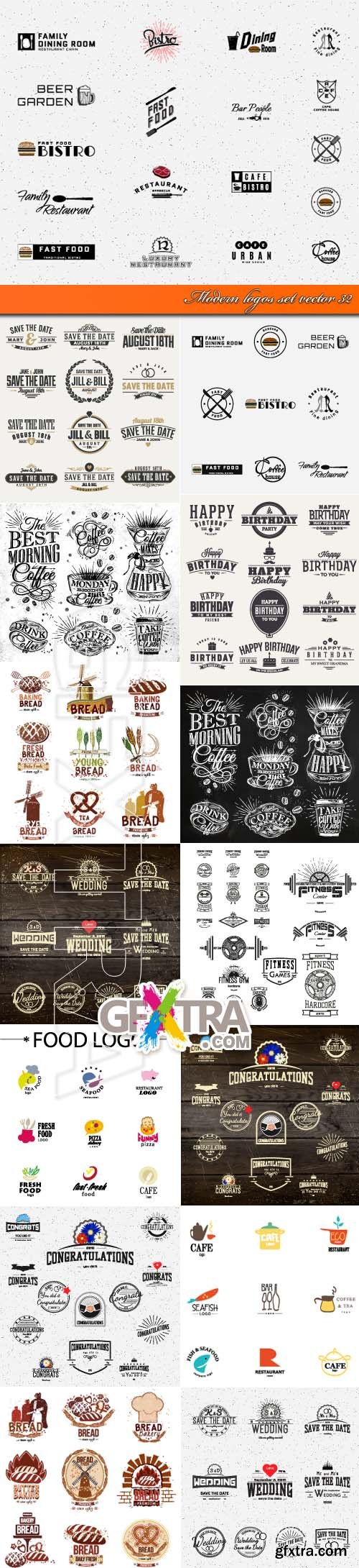 Modern logos set vector 32