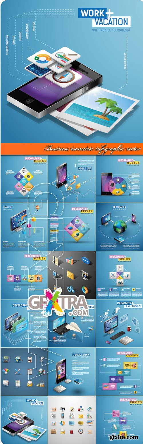 Business isometric infographic vector