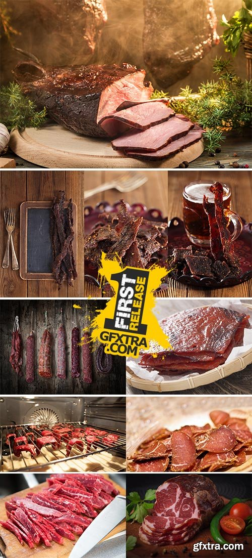 Stock Images Dried Peppered Beef Jerky Cut in Strips