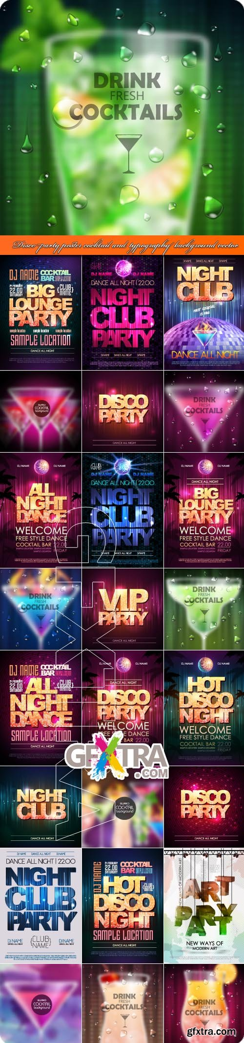 Disco party poster cocktail and typography background vector