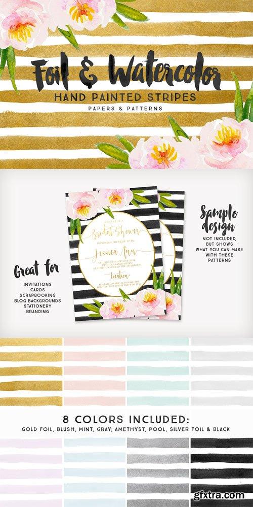 Foil & Watercolor Stripes - CM 272344