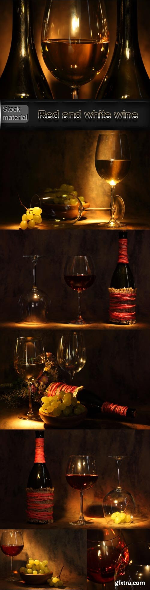 Red and white wine in bottles and glasses