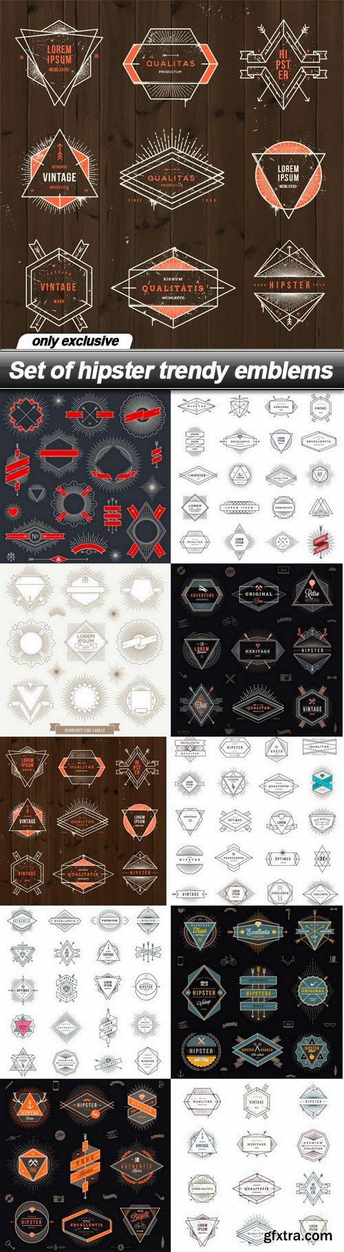 Set of hipster trendy emblems - 10 EPS