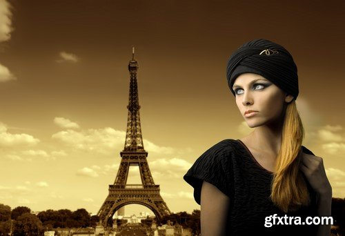 The girl and the Eiffel Tower