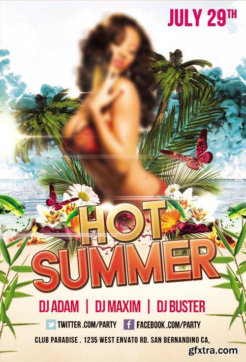 Hot Summer Flyer PSD Template + Facebook Cover
