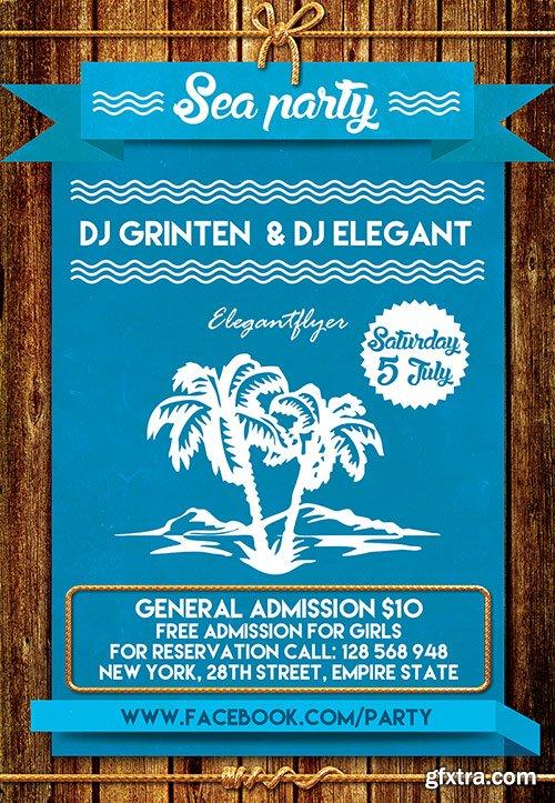 Sea party 2 Flyer PSD Template + Facebook Cover