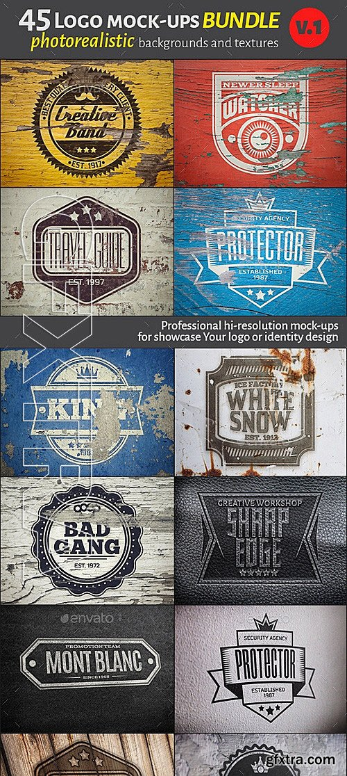 GraphicRiver - 45 Vintage Logo Mock-Ups. Bundle v1 12343351