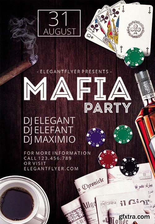 Mafia Party Flyer PSD Template + Facebook Cover