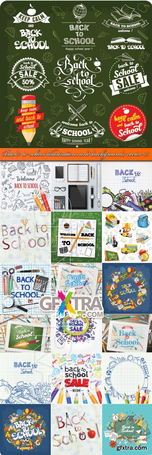 Back to school illustrations and backgrounds vector 15
