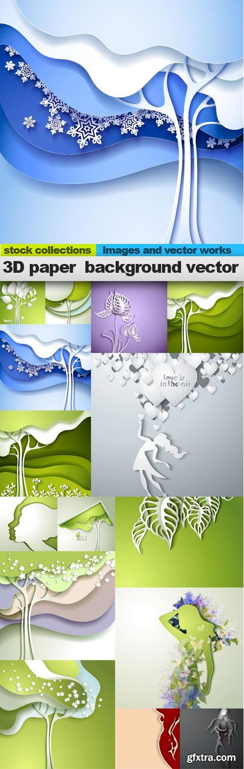 3D paper background vector, 15 x EPS