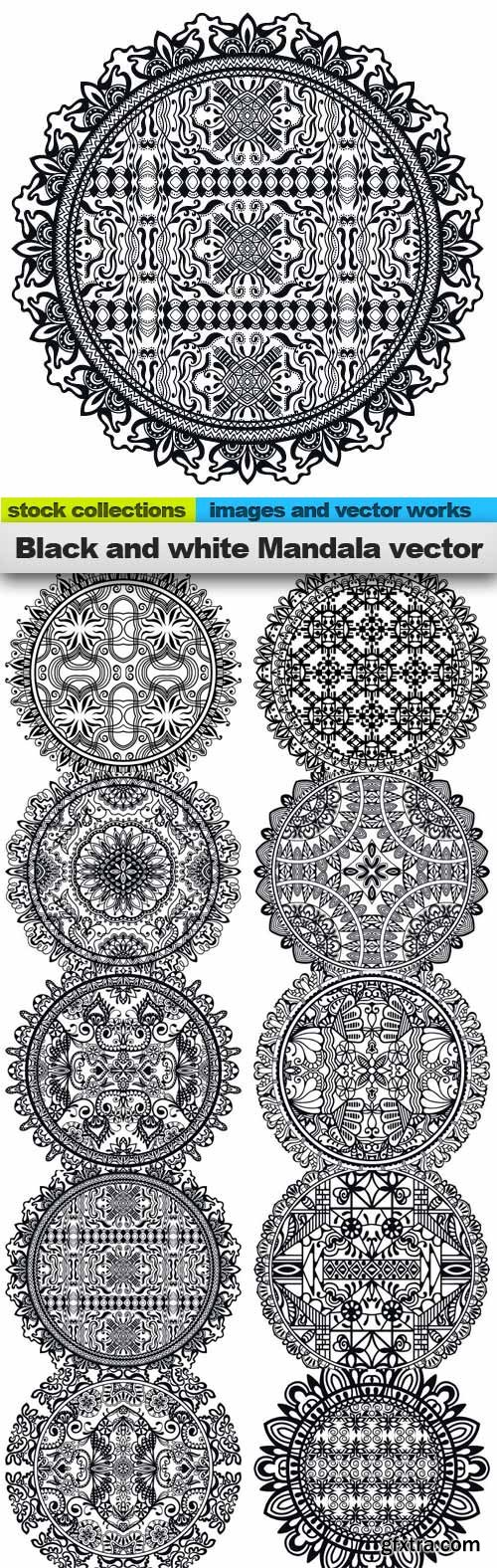 Black and white Mandala vector, 10 x EPS