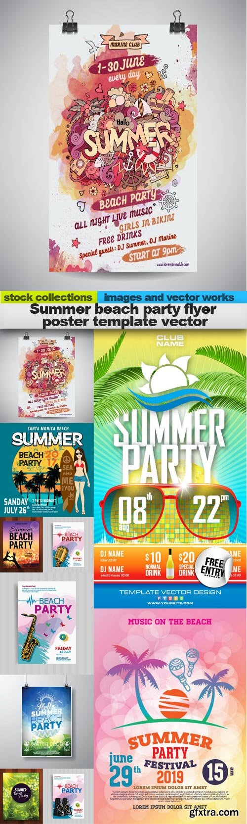 Summer beach party flyer poster template vector, 10 x EPS