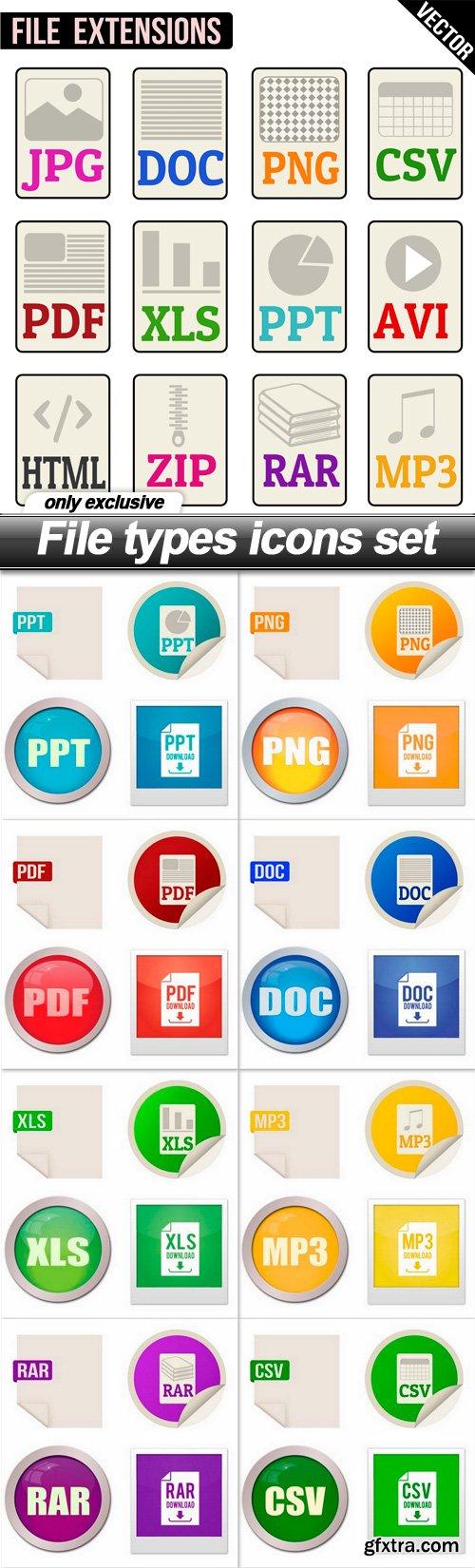 File types icons set - 9 EPS