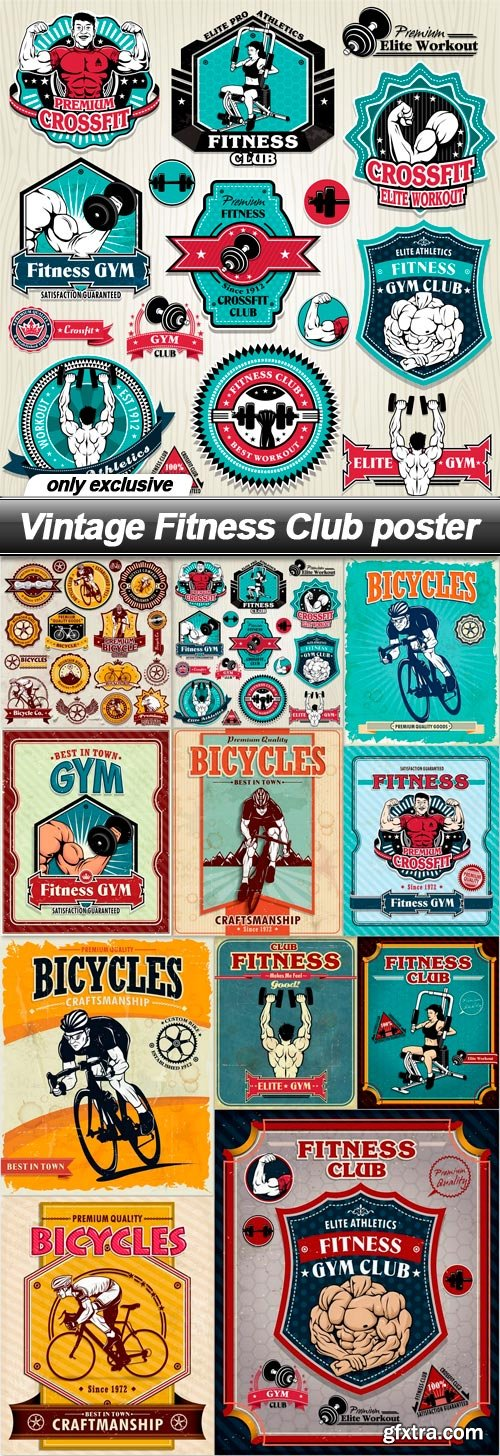 Vintage Fitness Club poster - 11 EPS