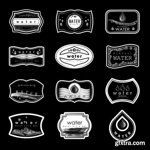 Water Labels Set - 10 EPS